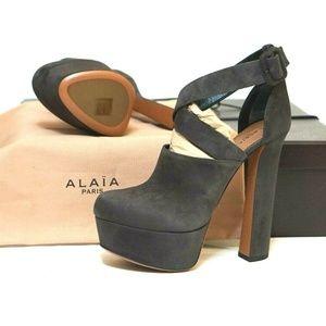 ALAIA Grey Suede Platform Ankle Strap Booties